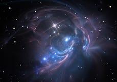nébuleuse le nuage du gaz et de la poussière bloque la lumière des étoiles éloignées Image stock