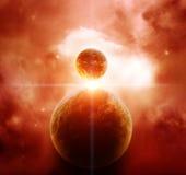 Nébuleuse rouge avec des planètes Photographie stock libre de droits