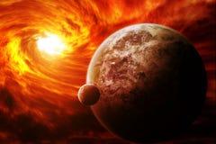 Nébuleuse rouge dans l'espace avec la terre de planète illustration de vecteur