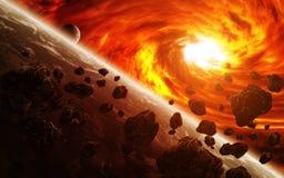 Nébuleuse rouge dans l'espace avec la terre de planète illustration stock
