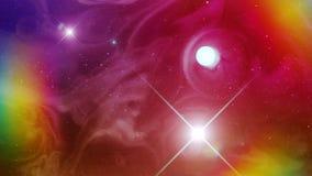 Nébuleuse très colorée et psychédélique de l'espace et un Sun clips vidéos