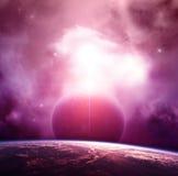 Nébuleuse violette avec des planètes Images libres de droits