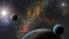 Nébuleuses, étoiles et planètes La science fiction et backround d'astro illustration stock
