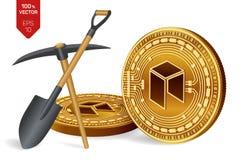 Néo- concept d'exploitation pièce de monnaie physique isométrique du peu 3D avec la pioche et la pelle Devise de Digital Cryptocu illustration libre de droits