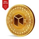 Néo- Crypto devise pièce de monnaie 3D physique isométrique Devise de Digital Pièce de monnaie d'or avec le néo- symbole d'isolem Images libres de droits