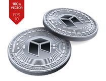 Néo- Crypto devise pièces de monnaie 3D physiques isométriques Devise de Digital Pièces en argent avec le néo- symbole d'isolemen illustration de vecteur
