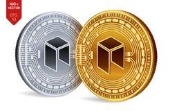 Néo- Crypto devise pièces de monnaie 3D physiques isométriques Devise de Digital Pièces d'or et en argent avec le néo- symbole d' Photos libres de droits