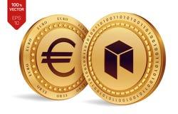 Néo- Euro pièce de monnaie pièces de monnaie 3D physiques isométriques Devise de Digital Cryptocurrency Pièces de monnaie d'or av Images libres de droits