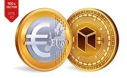 Néo- Euro pièce de monnaie pièces de monnaie 3D physiques isométriques Devise de Digital Cryptocurrency Pièces de monnaie d'or av Illustration Libre de Droits