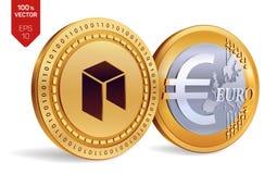 Néo- Euro pièce de monnaie pièces de monnaie 3D physiques isométriques Devise de Digital Cryptocurrency Pièces de monnaie d'or av Photographie stock