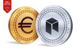 Néo- Euro pièce de monnaie pièces de monnaie 3D physiques isométriques Devise de Digital Cryptocurrency Les pièces d'or et en arg Illustration Libre de Droits