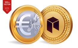 Néo- Euro pièces de monnaie 3D physiques isométriques Devise de Digital Cryptocurrency Pièces de monnaie d'or avec le néo- et eur Image libre de droits