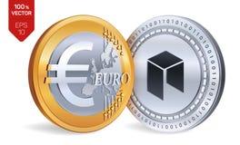 Néo- Euro pièces de monnaie 3D physiques isométriques Devise de Digital Cryptocurrency Pièces d'or et en argent avec néo- et euro Image stock