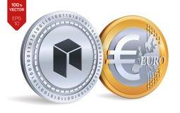 Néo- Euro pièces de monnaie 3D physiques isométriques Devise de Digital Cryptocurrency Pièces d'or et en argent avec le néo- et e Images stock