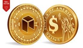 Néo- Pièce de monnaie du dollar pièces de monnaie 3D physiques isométriques Devise de Digital Cryptocurrency Pièces de monnaie d' illustration de vecteur