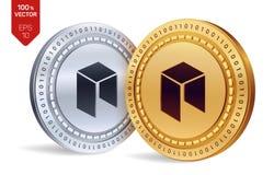 Néo- pièces de monnaie 3D physiques isométriques Devise de Digital Cryptocurrency Pièces d'or et en argent avec le néo- symbole d Images libres de droits