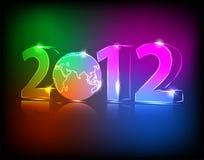 Néon 2012 ans avec le globe Photographie stock libre de droits