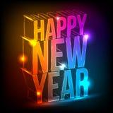 Néon. Ano novo feliz ilustração do vetor