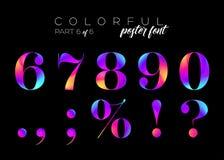 Néon brilhante colorido Typeset Cores cor-de-rosa, roxas, azuis elétricas Foto de Stock