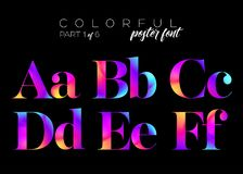 Néon brilhante colorido Typeset Cores cor-de-rosa, roxas, azuis elétricas Imagem de Stock