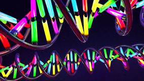 Néon colorido luz-como a costa torcida do ADN feita do vidro e do metal ilustração royalty free