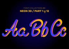 Néon 3D Typeset com formas arredondadas Grupo da fonte de letras pintadas Foto de Stock
