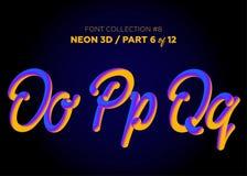 Néon 3D Typeset com formas arredondadas Grupo da fonte de letras pintadas Fotos de Stock Royalty Free