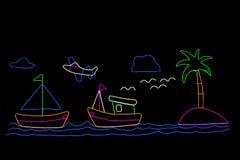 Néon de bateau, néon d'avion dans le jardin illustration de vecteur