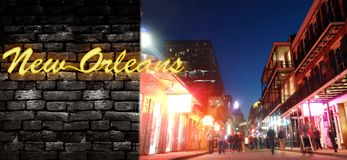Néon de Bourbon Street e de Nova Orleães fotos de stock