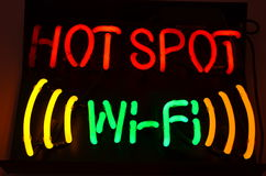 Néon de WiFi Imagens de Stock
