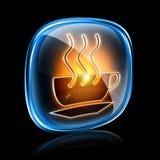 Néon do ícone do copo de café. ilustração royalty free