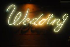 Néon do casamento Fotografia de Stock Royalty Free