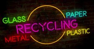 Néon do símbolo da reciclagem e da ecologia ilustração do vetor