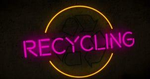 Néon do símbolo da reciclagem e da ecologia ilustração royalty free