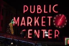 Néon du marché de place de Pike images libres de droits