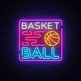Néon Logo Vector de nuit de basket-ball L'enseigne au néon de basket-ball, calibre de conception, conception moderne de tendance, Illustration Stock