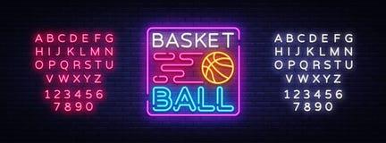 Néon Logo Vector de nuit de basket-ball L'enseigne au néon de basket-ball, calibre de conception, conception moderne de tendance, Illustration de Vecteur