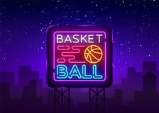 Néon Logo Vector de nuit de basket-ball L'enseigne au néon de basket-ball, calibre de conception, conception moderne de tendance, Illustration Libre de Droits