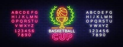 Néon Logo Vector de nuit de Tourament de basket-ball L'enseigne au néon de tasse de basket-ball, calibre de conception, conceptio Illustration de Vecteur