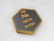 Néon - Ne - forme hexagonale de table périodique d'élément chimique Images stock