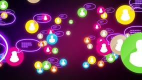 Néon social da noite do conceito dos meios do laço da rede ilustração stock