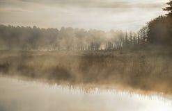 A névoa aumenta de um pântano em um lago ontario Contrail no céu pálido do verão Nascer do sol sobre a passagem estreita de um la imagens de stock royalty free