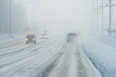 Névoa de gelo na estrada Fotos de Stock