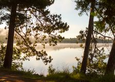 A névoa do alvorecer paira sobre um lago calmo foto de stock