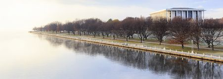 Névoa do inverno no foreshore da biblioteca nacional Foto de Stock Royalty Free