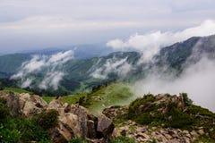 Névoa e nuvens acima das madeiras nas montanhas Imagem de Stock
