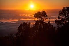 Névoa e por do sol Fotografia de Stock