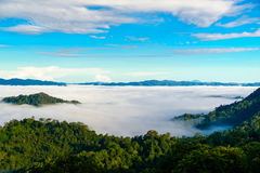 A névoa em Khao Phanoen Thung, parque nacional de Kaeng Krachan no Th Fotos de Stock