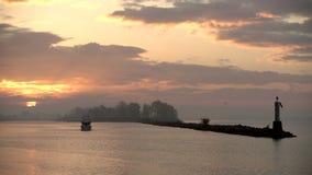 Névoa 4K UHD do nascer do sol do porto de Steveston filme
