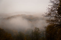 Névoa místico nas montanhas Foto de Stock Royalty Free